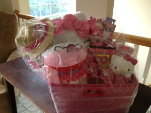 Gift basket idea, Hello Kitty, How to make a gift basket